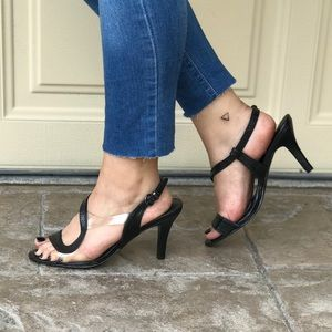 Asymmetrical Clear Contrast Straps Heel Sandals